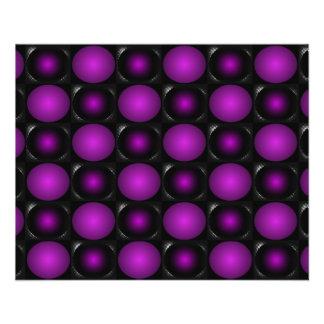 """Las esferas negras y púrpuras 3D texturizaron dise Folleto 4.5"""" X 5.6"""""""