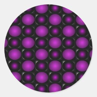 Las esferas negras y púrpuras 3D texturizaron Pegatina Redonda