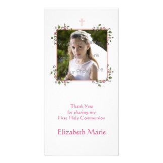 Las esquinas florales rosadas religiosas le agrade tarjeta fotografica personalizada