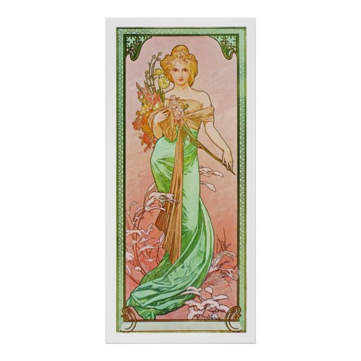Las estaciones: Primavera Printemps, Alfonso 1900  Posters