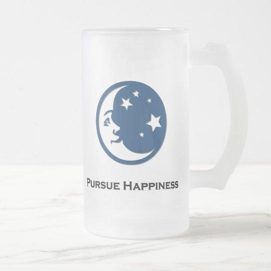 Las estrellas de la luna persiguen felicidad jarra de cerveza esmerilada