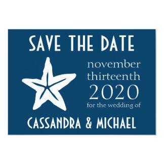 """Las estrellas de mar ahorran la fecha (los azules invitación 5"""" x 7"""""""