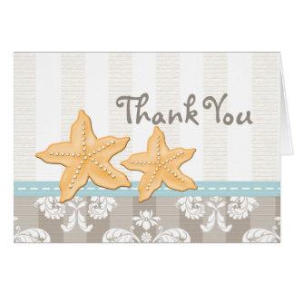 Las estrellas de mar azules le agradecen las tarje tarjeta pequeña