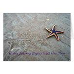 Las estrellas de mar caminan, cada viaje comienzan tarjetas