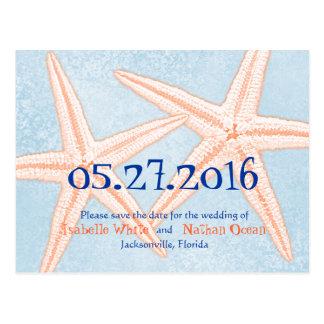 Las estrellas de mar coralinas azules ahorran las postal