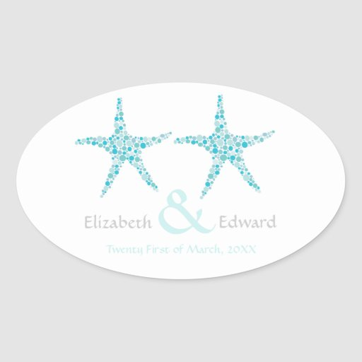 Las estrellas de mar de la aguamarina de la pegatina ovalada