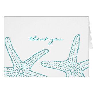 Las estrellas de mar de la turquesa le agradecen c tarjeta pequeña