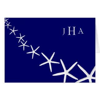 Las estrellas de mar de los azules marinos cones tarjeta pequeña