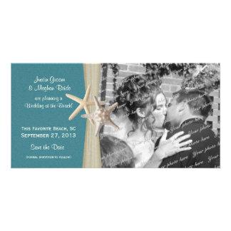 Las estrellas de mar del boda de playa ahorran la  plantilla para tarjeta de foto