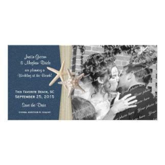 Las estrellas de mar del boda de playa de los azul tarjeta fotografica personalizada