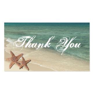 Las estrellas de mar del mar le agradecen etiqueta tarjetas de visita