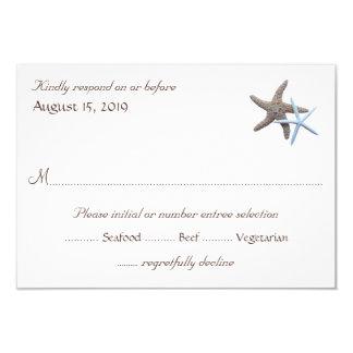 """Las estrellas de mar juntan las tarjetas de invitación 3.5"""" x 5"""""""