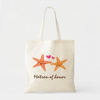 Las estrellas de mar lindas del kawaii aman a la m bolsa tela barata