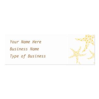 Las estrellas de mar modelan en amarillo y blanco plantilla de tarjeta de negocio