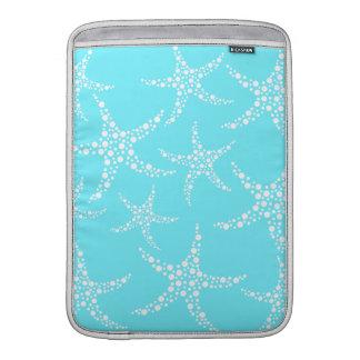 Las estrellas de mar modelan en turquesa y blanco funda  MacBook