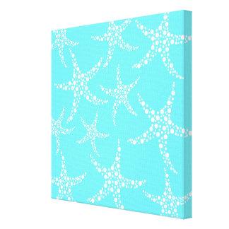 Las estrellas de mar modelan en turquesa y blanco lienzo envuelto para galerias