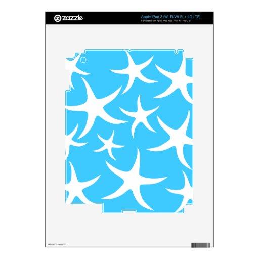 Las estrellas de mar modelan, las azules turquesas pegatina skin para iPad 3