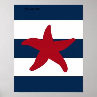 Las estrellas de mar náuticas imprimen rojo, la póster