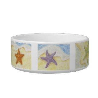 Las estrellas de mar persiguen o el cuenco del gat tazón para gato