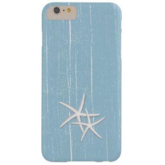 Las estrellas de mar rústicas acuñan tema azul de funda barely there iPhone 6 plus