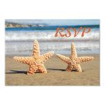 Las estrellas de mar se juntan en la tarjeta de invitaciones personales