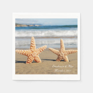 Las estrellas de mar se juntan en las servilletas servilleta desechable