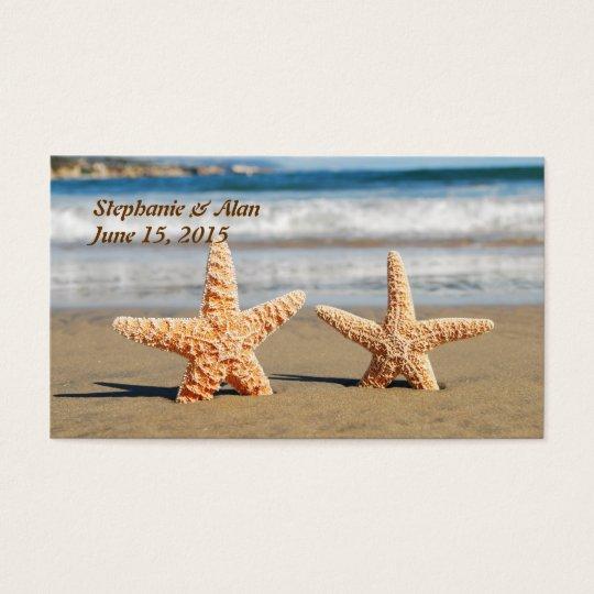 Las estrellas de mar se juntan en las tarjetas del tarjetas de visita