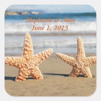 Las estrellas de mar se juntan en los pegatinas colcomanias cuadradass