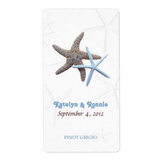 Las estrellas de mar se juntan personalizado casan etiquetas de envío