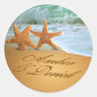 Las estrellas de mar se juntan PIDEN que PONGA Pegatina Redonda