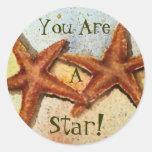 ¡las estrellas de mar, usted es, A, estrella! Etiqueta Redonda
