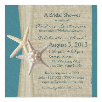 """Las estrellas de mar y la arpillera miran la ducha invitación 5.25"""" x 5.25"""""""