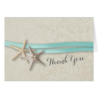 Las estrellas de mar y la cinta le agradecen tarjeta pequeña