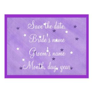 Las estrellas del púrpura y blancas ahorran las postales