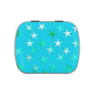 Las estrellas del satén, palidecen - verde y azul  frascos de dulces
