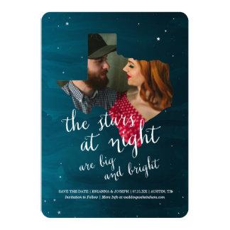 Las estrellas en la noche ahorran la fecha invitación 12,7 x 17,8 cm