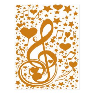 Las estrellas, oyen y las notas de la música, tarjeta postal