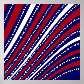 Las estrellas patrióticas rayan la bandera de la póster
