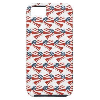 Las estrellas patrióticas rayan los corazones 4tos funda para iPhone SE/5/5s
