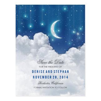 Las estrellas y las luces de luna ahorran las postales