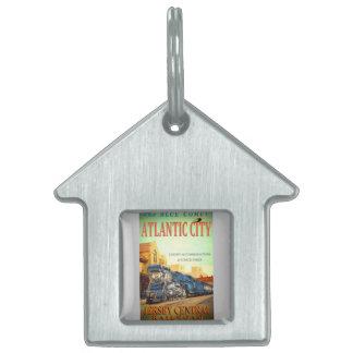 Las etiquetas azules del mascota del tren del placa de mascota