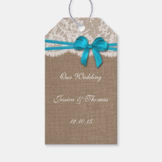 Las etiquetas azules rústicas de la colección del etiquetas para regalos