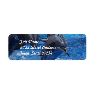 Las etiquetas de correo de salto del delfín etiqueta de remite