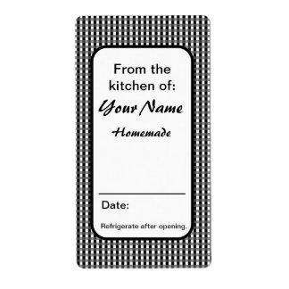 Las etiquetas de encargo blancos y negros del etiquetas de envío