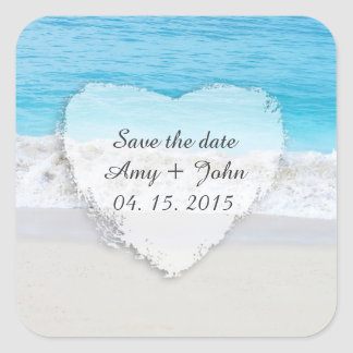 Las etiquetas del favor del boda de playa ahorran pegatina cuadrada