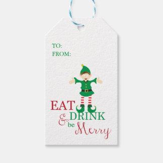 Las etiquetas del regalo del navidad comen, beben, etiquetas para regalos