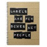 Las etiquetas están para la gente de las cajas no libro de apuntes con espiral