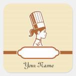 Las etiquetas grandes personalizadas del cocinero calcomanía cuadradas