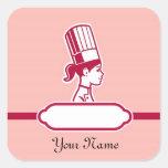 Las etiquetas grandes personalizadas del cocinero pegatinas cuadradas