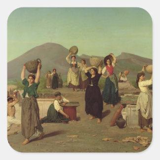 Las excavaciones en Pompeya, 1865 Pegatina Cuadrada
